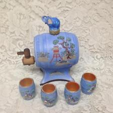 1930s Rare Hinode Japan Variant Gaudy Blue Willow Tea Barrel 4 Handless Tea Cups