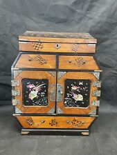 More details for 1920s japanese lacquer small chest drawers tansu jewellery box wooden marquetry