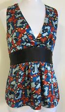 Silk blouse lined blue/red/beige/black print with black sash pretty