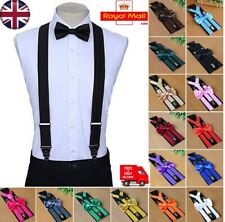 Premium Adjustable Matching Suspenders Braces and Bow Tie Set Boys Adults Kids