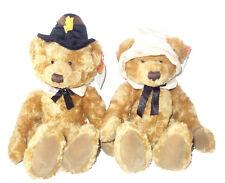 "Russ Berrie teddy bears Thanksgiving pilgrims Plymouth & Mayflower 14"" tall"