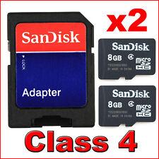 2x Neu Sandisk 8GB Class 4 Micro SD SDHC MicroSD SPEICHERKARTE