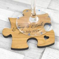 Personalised Jigsaw Puzzle Wedding Table Coasters Rustic Wooden Favors Placecard