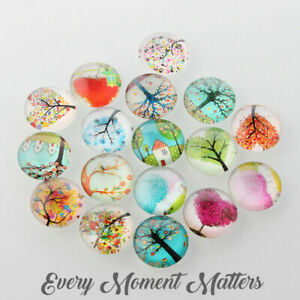 10 x TREE OF LIFE GLASS CABOCHONS DOME FLAT BACK Random Mix or Pairs 12mm