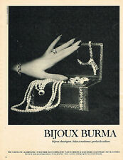 PUBLICITE ADVERTISING 124 1960  BURMA joaillier bijoux perles de culture