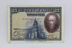 Banknotes Of 25 Pesetas 1928 Spain Calderon de La Barca -mbc