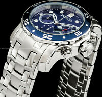 Invicta 48mm Pro Diver Scuba Chronograph Blue Dial Stainless Steel 200MT Watch !