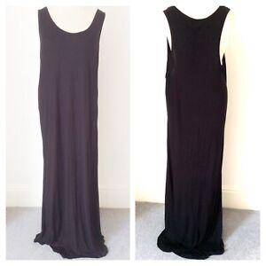 "Elegance Plus Size 22 / 24 Black Sleeveless Jersey 63"" Maxi DRESS /Beach Cover"