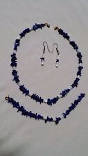 Mother of Pearl Tulip Beads & Blue Agate Beads Necklace,Bracelet & Pierced Earri