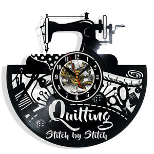 Quilting Vinyl Wall Clock Record Gift Decor Sign Feast Day Art Woman Man