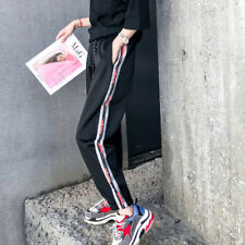 Chic Striped Letter Loose Casual Pants - Black