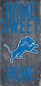 """Detroit Lions Home Sweet Home Wood Sign 12"""" x 6"""" [NEW] NFL Man Cave Den Wall"""
