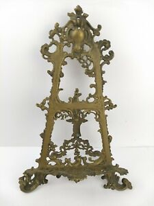 """Vintage 16"""" Brass Ornate Book Holder/ Display Stand Does Show Tarnish As Found"""
