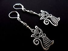 A PAIR OF TIBETAN SILVER CAT EARRINGS WITH LEVERBACK  HOOKS. NEW..