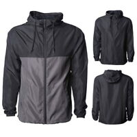 Water Resistant Men Long Sleeve Lightweight Hooded Trench Coat Loose Windbreaker