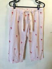 Gap Body M Pajama Beach Ankle Pants Seersucker Pink Flamingo Great Cond Cotton