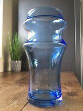 LARGE RETRO DARTINGTON INTIMATES HOOPED BLUE GLASS VASE 70'S SCANDINAVIAN STYLE