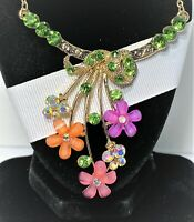 BETSEY JOHNSON GOLD VINE WITH RED & BLUE CRYSTALS FLOWERS CHOKER NECKLACE