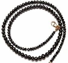 Super Quality Natural Black Diamond 3 to 5.3MM Round Ball Shape Beads Necklace