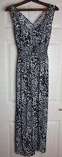 V London Ladies Black / White Animal Print Strappy Maxi Dress Size 12