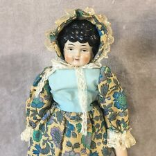 """19'' China Head Shoulder Doll Parted Black Curls Marked #5, 4.25"""" Head Height"""