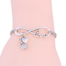 Silver Plated Women I love Volleyball Hear Infinity Pendant Bracelet Chain Charm