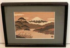 "Hamamatsuya Art Marquetry ""Lake Ashinoko"" 7 3/8"" × 10"" in 12"" × 16"" frame"