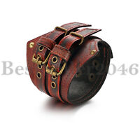Punk Men Genuine Wide Leather Belt Bracelet Cuff Adjustable Rock Biker Bangle