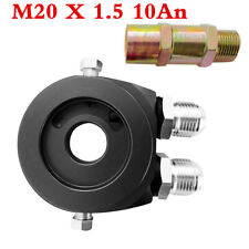 Black Alloy M20x1.5 Car Oil Filter Sandwich Plate Adapter 1/8 NPT Oil Cooler Kit