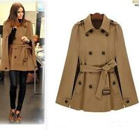 Autumn Winter Wool blend Poncho Brown Navy  Cloak Cape Coat trench outwear