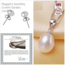 "18 - 19.99"" Natural Sterling Silver Fine Pearl Necklaces & Pendants"