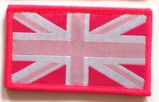 Sew On & Velcro Embroidered Patch Badge (Forces Style) Union Flag Pink