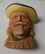 Vintage England Legend Chalkware Buffalo Bill Cody 1984 Signed by Wright Damage
