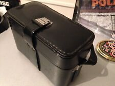 VINTAGE CAMERA CASE BLACK LEATHER? OLD STYLE HARD CASE WITH STRAP