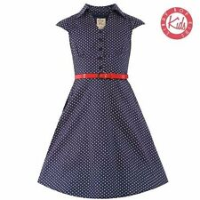 LindyBop Childrens Mini Rebecca Navy White Polka Dot Party Swing Shirt Dress 3-4