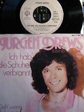 """7"""" SINGLE - Jürgen DREWS -Ich hab die Schuhe verbrannt - TOP - KULT 1980"""