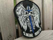 ST. MICHAEL MORALE PATCH ARCHANGEL HOOK AND LOOP LAW POLICE TBL SWORD BLUE LINE