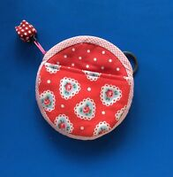 Cath Kidston Lace Hearts Handmade Coin Purse + front pocket, keyring & Red Charm