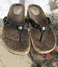 Ugg 10 Flip Flops Black Leather Braided Cork Foot Bed Beach Summer Hipster