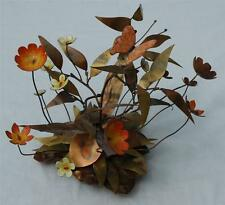 Mid Century Modern Copper Flora Sculpture W/ Buttercups, Buttterfly and Flowers