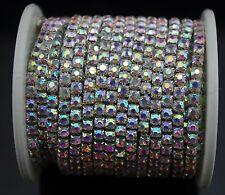 10 yds 4mm Crystal AB Rhinestone Silver Chain Trim Cake Banding Cake Decoration