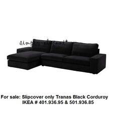 IKEA COVER for IKEA KIVIK Sofa with Chaise Lounge Tranås Tranas Black Corduroy
