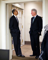 PRESIDENT OBAMA AND BILL CLINTON WHITE HOUSE 8x10 SILVER HALIDE PHOTO PRINT