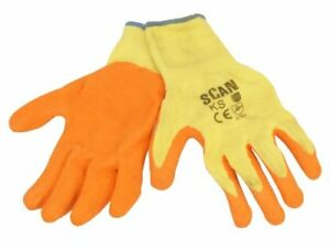 Scan GLOKSPK12 Knit Shell Latex Palm Gloves - Orange  Pack of 12
