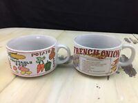 SOUP BOWLS - 2 Vtg White French Onion Vegetable Mushroom Recipe Mugs