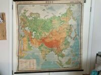 Vintage Linen School Map of Asia printed in 1970