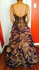 WOMEN MAXI PROM DRESS BALL GOWN  LACE,BEAD & SEQUINS FULLY LINED-SIZE 0-2-4-6