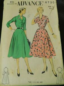 Vintage 1940s ADVANCE Sewing PATTERN 6730 Dress Size 14 Original