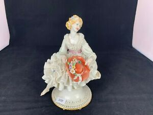 Rare Porcelain Capodimonte Figurine Collectible Lady Sitting by Luciano Cazzola