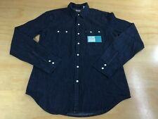 LEVI'S WESTERN SAWTOOTH DENIM PEARL BUTTON UP SHIRT M DARK BLUE INDIGO NWT